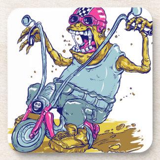Monster Motorcycle Biker Cartoon Drink Coasters