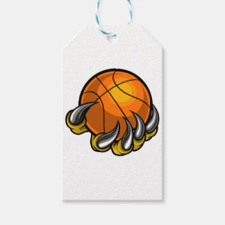 Monster or animal claw holding Basketball Ball Gift Tags