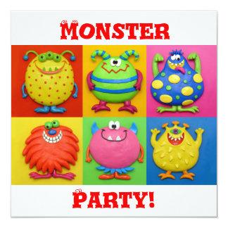 Monster Party 13 Cm X 13 Cm Square Invitation Card