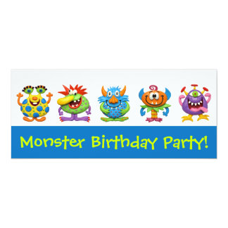"""Monster Party 4"""" X 9.25"""" Invitation Card"""