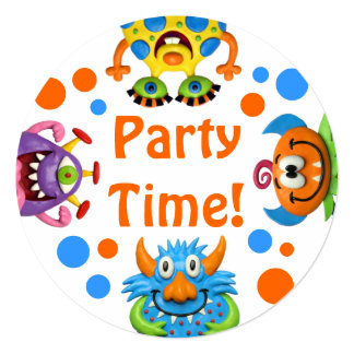 """Monster Party 5.25"""" Square Invitation Card"""