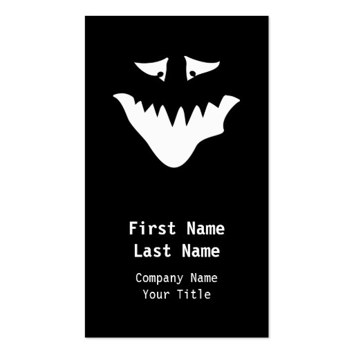 Monster Scary Face, in White. Business Card Template