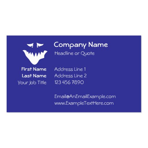 Monster Scary Face, in White. Business Card Templates