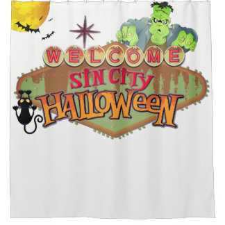 Monster Sin City Halloween Shower Curtain