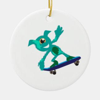Monster Skateboarder Ceramic Ornament