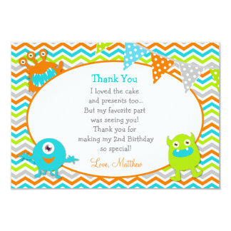 Monster Thank You Note Cards 9 Cm X 13 Cm Invitation Card