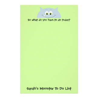 Monster To Do List Personalized Stationery