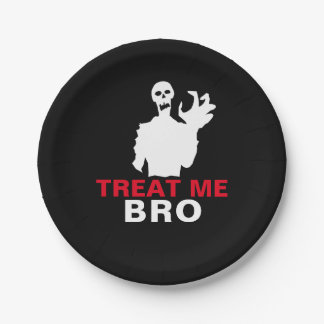 Monster Treat Me Bro funny Halloween customizable Paper Plate