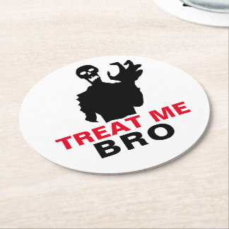 Monster Treat Me Bro funny Halloween customizable Round Paper Coaster