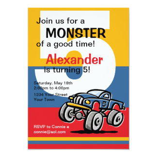 Monster Truck 5th Birthday 13 Cm X 18 Cm Invitation Card