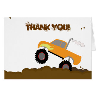 Monster Truck Birthday Folded Thank you note Cards