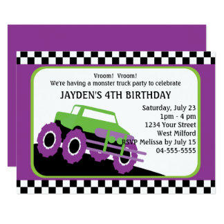 Monster Truck Birthday Party Card