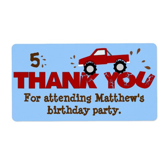 Monster Truck Birthday Party Favour Labels