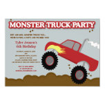 Monster Truck Birthday Party (Red / Grey Colours) Personalized Invitation