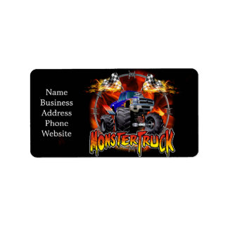 Monster Truck blue on Fire Address Label