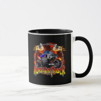 Monster Truck blue on Fire Mug