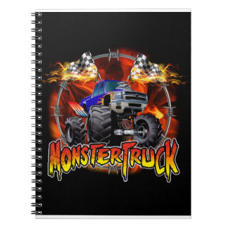 Monster Truck blue on Fire Notebook