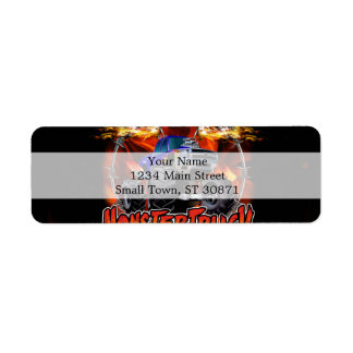 Monster Truck blue on Fire Return Address Label