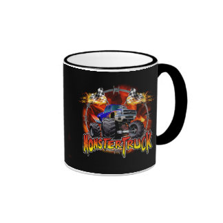 Monster Truck blue on Fire Ringer Mug