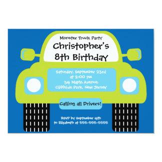 Monster Truck Boys Birthday Party Invitations