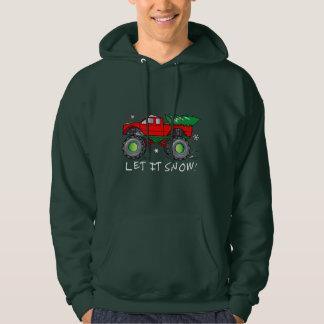 Monster Truck Hauling Christmas Tree: Let It Snow! Hoodie