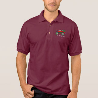 Monster Truck Hauling Christmas Tree: Let It Snow! Polo Shirt