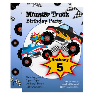 Monster Truck Kids Boys Birthday Party Invitation