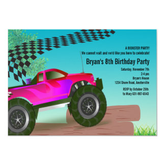 Monster Truck Red Birthday Party Invitation