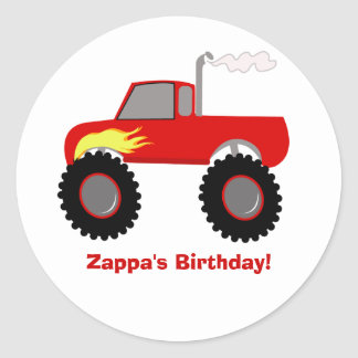 Monster Truck (Red) Personalized Round Sticker