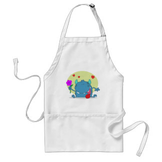 Monster with a Signal Purple Flower Aprons