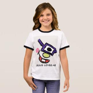 Monster with glasses, Jesus loves me Ringer T-Shirt
