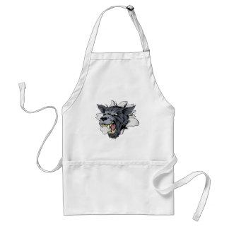 Monster Wolf Mascot Breakthrough Apron
