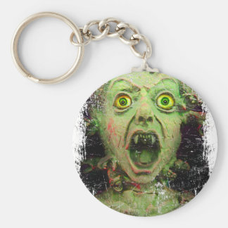 Monster Zombie Green Creepy Horror Basic Round Button Key Ring