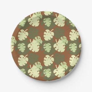 Monstera deliciosa 7 inch paper plate