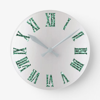 Monstera Green Gray Silver Ombre Minimal Black Round Clock