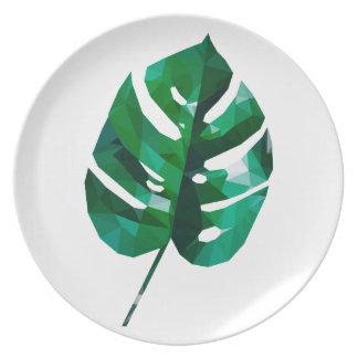 Monstera Leaf Design Party Plate