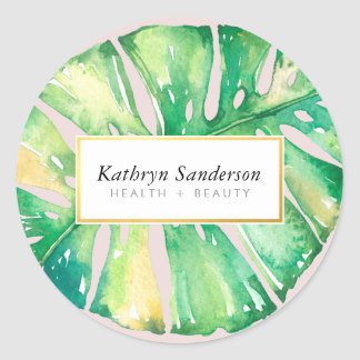 MONSTERA LEAF eco floral stylish illustration Classic Round Sticker