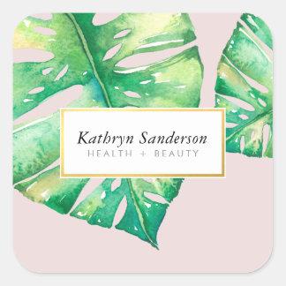 MONSTERA LEAF eco floral stylish illustration Square Sticker
