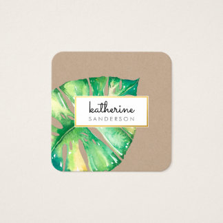 MONSTERA LEAF eco painted modern watercolor kraft Square Business Card
