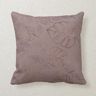 Monstera Leaf Jungle Kraft Lilac Blush Purple Gold Throw Pillow