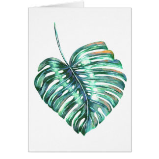 Monstera leaf modern tropical summer card