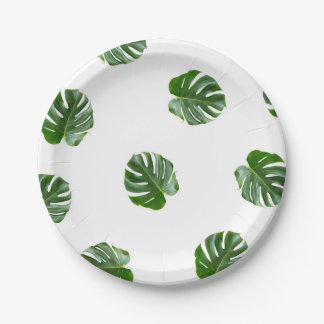Monstera Leaf Print Tropical Paper Plates