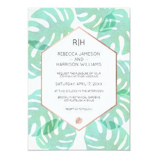 Monstera Leaf & Rose Gold 13 Cm X 18 Cm Invitation Card
