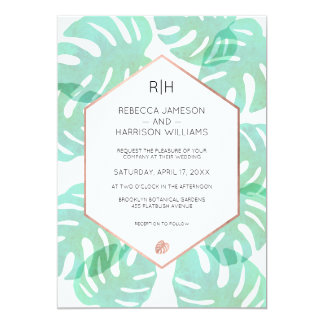 Monstera Leaf & Rose Gold Card