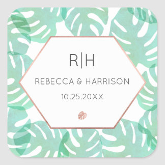 Monstera Leaf & Rose Gold Square Sticker