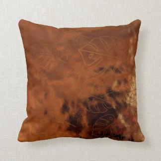 Monstera Leaf Tropical Gold Bronze Glass Maroon Cushion