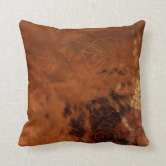 Monstera Leaf Tropical Gold Bronze Glass Maroon Throw Pillow
