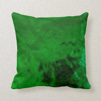 Monstera Leaf Tropical Green Emerald Green Glass Cushion