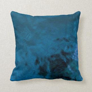 Monstera Leaf Tropical Metallic Glass Blue Aqua Cushion
