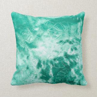 Monstera Leaf Tropical Metallic Glass Mint Aqua Cushion